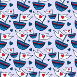 Seamless pattern with ship hand drawn. Kids red and blue seamless pattern can be used for pattern fills, wallpapers, web page back Royalty Free Stock Photo