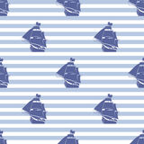 Seamless pattern with ship on striped background Stock Images