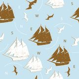 Seamless pattern ships birds silhouettes background blue design Stock Photography