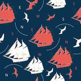 Seamless pattern ships and marine birds Royalty Free Stock Photo