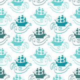 Seamless pattern with ships. In the sea royalty free illustration