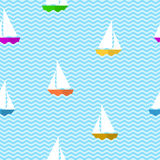 Seamless pattern with ships Stock Photography