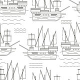 Seamless pattern with ships Stock Photo