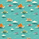 Seamless pattern with ships Stock Photos