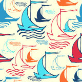 Seamless pattern with ships. Vector illustration, template for your decoration and design Stock Photos