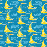 Seamless pattern with ships. Vector illustration, template for your decoration and design Stock Images