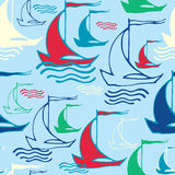 Seamless pattern with ships. Vector illustration, template for your decoration and design Royalty Free Stock Photo