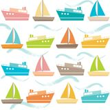 Seamless pattern with ships and waves Royalty Free Stock Image