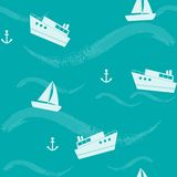 Seamless pattern with ships and waves Stock Image