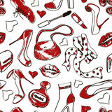 Seamless pattern of shoes and accessories Royalty Free Stock Images