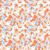 Seamless pattern of the shoes on the background of delicate rose Stock Images