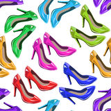 Seamless pattern of woman shoes Stock Photos
