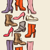 Seamless pattern with shoes. Hand drawn illustration female footwear, boots and stiletto heels.  Royalty Free Stock Image