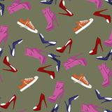 Seamless pattern of Shoes - running shoes sneakers, boots, high-heeled shoe. Design element. Fashion Vector Illustration. royalty free illustration
