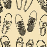 Seamless pattern of shoes - sneakers. Royalty Free Stock Image