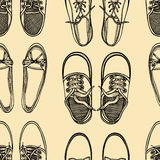 Seamless pattern of shoes - sneakers. Stock Images