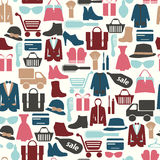 Seamless pattern with shopping icons-illustration Stock Photos