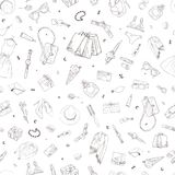 Seamless pattern with shopping icons. Woman holiday purchase, hand drawn background. Seamless pattern with shopping icons. Woman holiday purchase, hand drawn Stock Photos