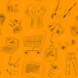 Seamless pattern with shopping pictures Stock Photo