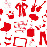 Seamless pattern with shopping silhouettes Stock Photos