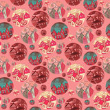 Seamless Pattern With Shots Of Cities In Red Tones Royalty Free Stock Photo