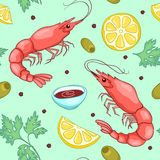 Seamless pattern with shrimps green Stock Images