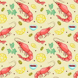 Seamless pattern with shrimps Stock Image