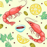 Seamless pattern with shrimps yellow Royalty Free Stock Photography