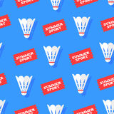 Seamless pattern with shuttlecocks and stickers summer sport. Flat style. Vector background Royalty Free Stock Photos