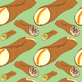 Seamless pattern with sicilian dessert cannoli Royalty Free Stock Photography