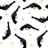 Seamless pattern with a silhouette of a black pistol and gold bullets on a white background. Vector. Royalty Free Stock Photo