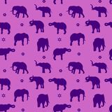 Seamless pattern, silhouette blue elephant on purple background,. Vector Royalty Free Stock Image