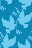 Seamless pattern of silhouette dove with an olive branch Stock Photography