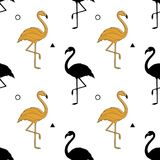 Seamless pattern with a silhouette of a golden flamingo on a white background. Vector. A simple pattern. Vector illustration Stock Photo