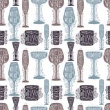 Seamless pattern of silhouette images of glass glasses for different drinks. Shape stemware lettering text royalty free stock image