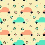 Seamless pattern with silhouette of retro cars and abstract circles royalty free illustration