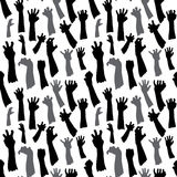 Seamless pattern of silhouette set of hands Stock Photography