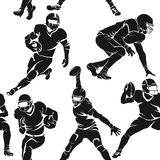 Seamless pattern with silhouettes of american football players Royalty Free Stock Photography