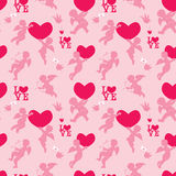 Seamless pattern with silhouettes of angel, heart, bird and call Royalty Free Stock Photography