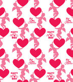 Seamless pattern with silhouettes of angel and heart. Calligraph Stock Photos