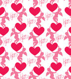 Seamless pattern with silhouettes of angel and heart. Calligraph Stock Photo