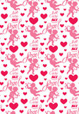 Seamless pattern with silhouettes of angel and heart Stock Photo