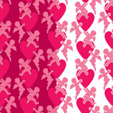 Seamless pattern with silhouettes of angel and heart. Valentine` Stock Images