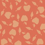 Seamless pattern with silhouettes apples and leave Royalty Free Stock Image