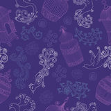 Seamless pattern with silhouettes of birds and cages Stock Photo