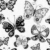 Seamless pattern with silhouettes butterflies Stock Photography