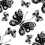 Seamless pattern with silhouettes butterflies Stock Photo
