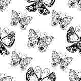Seamless pattern with silhouettes butterflies Stock Images