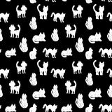 Seamless pattern silhouettes of cats. black and white. vector Royalty Free Stock Image