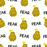 Seamless pattern with silhouettes of the creative black and yell. Ow pears, words Pear on the white background. Vector illustration Royalty Free Stock Image